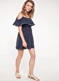 DeFacto Kat Volan Detaylı İnce Askılı Elbise Lacivert